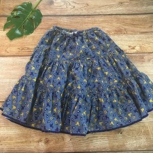 Mini Boden Bird Print Corduroy Skirt 11-12 years